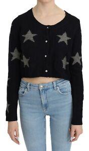 TWIN SET JEANS Top Blue Stars Sweater Cropped Cardigan IT44 / US10 / L