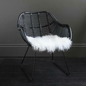 Rattan Conor Accent Chair - Black seat and Black Metal Legs with Two low arms