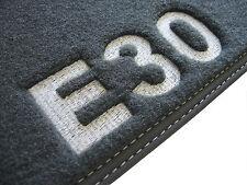 Für BMW 3er E30 Limousine Fußmatten Velours anthrazit Deluxe Motiv E30 GESTICKT