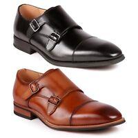 Metrocharm ML-1005 Men's Leather Double Monk Strap Slip On Loafers Dress Shoes