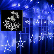 Blue Stars Curtain Fairy String LED Lights Shop Window Party Xmas Decorations UK