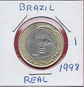 BRAZIL 1 REAL 1998 UNC ALLEGORICAL PORTRAIT LEFT,DENOMINATION ON LINEAR DESIGN A