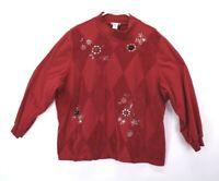Alfred Dunner Women's 3X Vintage High-Neck Long Sleeve Sweater/Sweatshirt Red