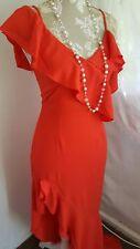 Vintage 1920,s Style Bardot rouge flamenco Clapet Prom robe de mariage Taille 6