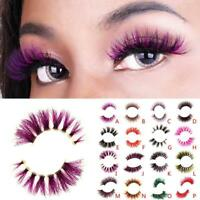 Colorful 3D Mink Hair Eye Lashes Extension False Eyelashes J6T0
