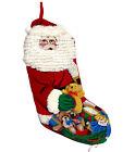 Vintage Santa Needlepoint Stocking with Santa Beard and Teddy Bear