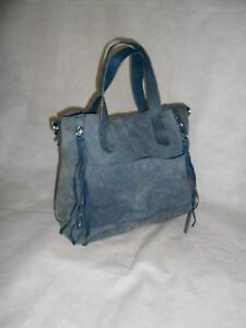 Women Navy Hand Bag Real Suede 2 Straps Size Large
