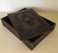 Antique~Vintage Desk Tray & Lid / Marshall Fields / Leather Veneer ? / Beautiful