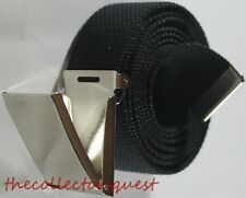 "NEW 1.5"" WIDE CHROME FLIPTOP BUCKLE 56"" INCH BLACK CANVAS MILITARY WEB BELT"