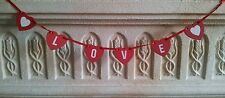 Shabby Chic Pretty Love Heart Garland Bunting Red Wooden LOVE Hearts
