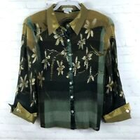Alberto Makali Sz L Floral Crinkle 3/4 Sleeve Embellished Button Down Shirt Top