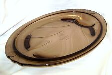 Pyrex Smoky Brown Amber Glass Meat Footed Platter with Juice Well Vintage Plate