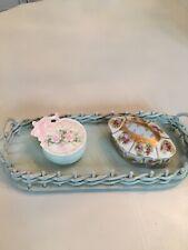 Vintage Chic Robin's Egg Blue Dresser Tray Wicker & Wood Romantic Shabby Decor