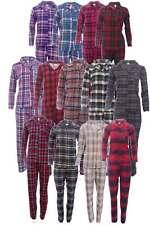Damen Flanell Pyjama Schlafanzug 2-Teilig Warm Weich Winter Lange Hose + Hemd