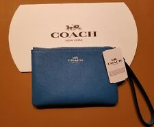 NWT COACH F58032 Corner Zip Bright Blue Wristlet  *Free US Ship*