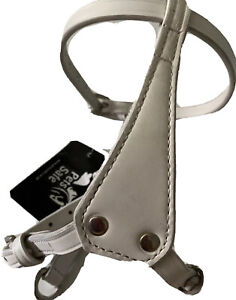 All In One Leather Puppy Vest Harness And Collar Small White