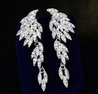 LONG DIAMANTE  CRYSTAL DROP DANGLE ANGEL WING EARRINGS WEDDING PROM PARTY