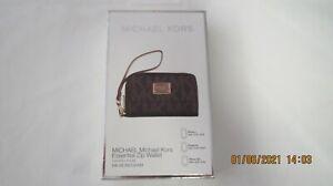 Michael Kors zipped purse wallet for Apple iphone MK monogram in brown in box