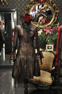 Supremely Unique Ladies Brown Leather Steampunk Costume Corset Dress Coat Jacket