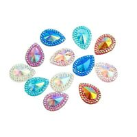 Faceted Beaded AB Tear Drop Flat Back Face Body Gem Festival Jewel Make up Craft