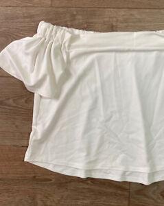 Pretty Little Thing XS 8 - White Textured Bardot Off Shoulder Sexy Summer PLT