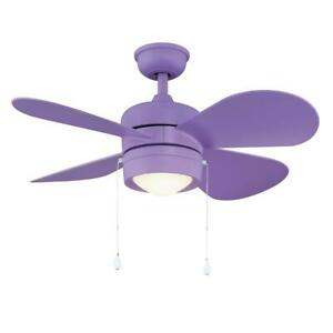 Home Decorators Collection Padgette 36 in. LED Purple Ceiling Fan