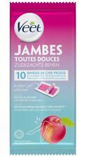 Veet Jambes Bandes de Cire Froide Nectarine 10 pièces Plus 2 Lingettes
