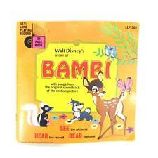 Walt Disney's Story of Bambi 7' Vinyl Record & Book- Disneyland- LLP-309 1966