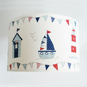 Nautical Light Shade Boat & Beach Hut Fabric Ceiling or Lamp Shade