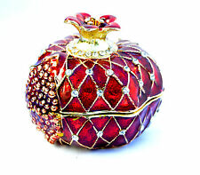 Israel Medium Pomegranate Jewelled & Enameled Crystal.Trinket Box / jewelry box