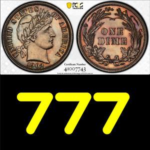 1902 PCGS PR63 Mintage 777 🔴 Choice PROOF Barber Dime ✅BARGAIN Sleeper 10C Type