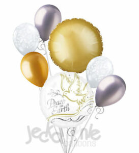 7 pc Gold & White Peace on Earth Dove Balloon Bouquet Party Decoration Christmas
