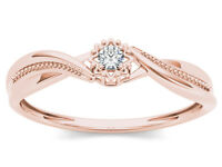 10k Rose Gold 0.05 Ct Natural Diamond Engagement Fashion Ring