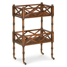 Chinese Chippendale Inspired Rolling Serving Cart - Cherry - Free Shipping*