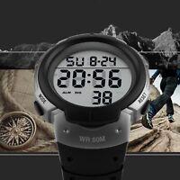 SKMEI Mens Large Number LED Digital Sports Waterproof Chrono Quartz Wrist Watch