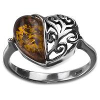 Sterling Silver Amber Heart Ring