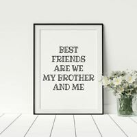 Boys Bedroom Posters Artwork For Nursery Playroom Best Friends Quote Black White