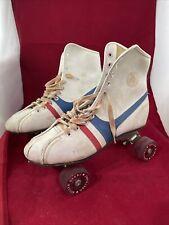 Vintage Official Roller Derby Skates Red White Blue Urethane Wheels Size 7