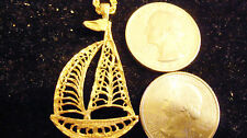 bling gold plated beach sea navy nautical sailboat charm chain hip hop necklace