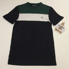 Mens Fred Perry Colour Block Panel T Shirt in Green XS 'VINTAGE MOD SKA INDIE'
