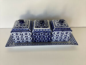HTF Bombay Cobalt Blue and White Lidded Square Condiment Jars with Under Tray