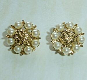 Vintage Clip On Earrings Gold Nugget in Circle of Imitation Pearls Flower Shape