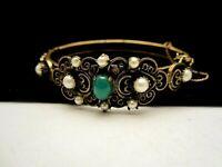 Rare Vintage Signed Hobe' Goldtone Hinged Faux Pearl Jade Bangle Bracelet M4