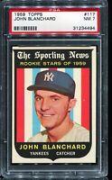 1959 Topps Baseball #117 JOHN BLANCHARD New York Yankees RC ROOKIE PSA 7 NM