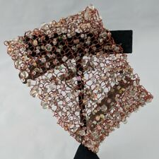 Rose Copper Wire Mesh and Clear Stacked Bead Toggle Floral Cuff Bracelet