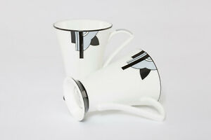 "Attractive Pair of Art Deco Bone China Mugs in the ""Ritzy"" (Grey) Design"