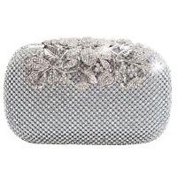 Unique Clasp Silver Diamante Crystal Diamond Evening bag Clutch Purse Party Q1M8