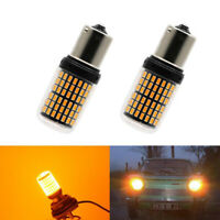 2PCS 1156 144SMD BA15S P21W LED Turn Signal Lights Bulb Canbus Amber/Yellow 12V
