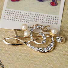 1x Charm Music Note Rhinestone Pearl Brooch Lovely Brooch Fashion Jewelry、HC