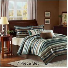 Queen Comforter Set Southwest Aztec 7PC Blue Brown Bedding Native American Decor